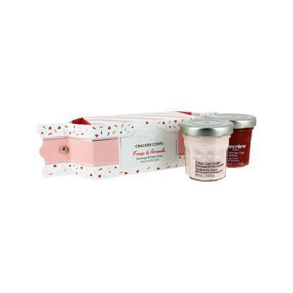 Crackers soins corps contenant des soins pour le corps à la fraise & à la grenade